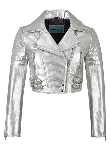 Damen-Biker-Metallic-Lederjacke kurz Geschnittener Body-Style aus echtem Lammfell 5625 (8 for Bust 74 cm, Metallic Silver)