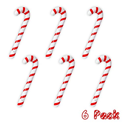 Joliyoou Inflatable Candy Canes for Christmas Decorations, Candy Canes Balloons for Party Decorations, Outdoor Candy Canes Decorations, 6 PCS