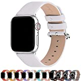 Fullmosa Compatible Apple Watch Band 38mm 40mm 42mm 44mm Calf Leather Compatible iWatch Band/Strap Compatible Apple Watch SE & Series 6 Series 5 Series 4 Series 3 Series 2 Series 1,38mm 40mm White