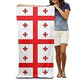 Gebrb Serviette de Bain, Serviettes de Toilette, Flag of Georgia Novelty 100% Polyester Swim Bath Sheets Large Towel for Beach Blanket Cover Tent Floor Yoga Mat 31.5' X 51.2',Natural Soft Quick Dry