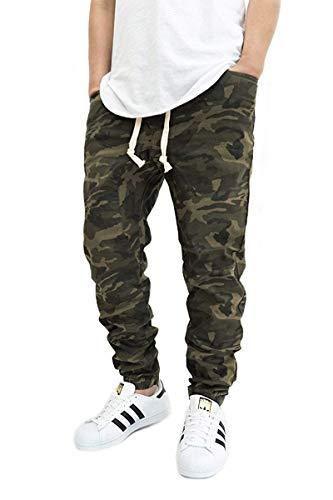 Victorious Men's Olive CAMO Twill Drop Crotch Jogger Pants (Medium)