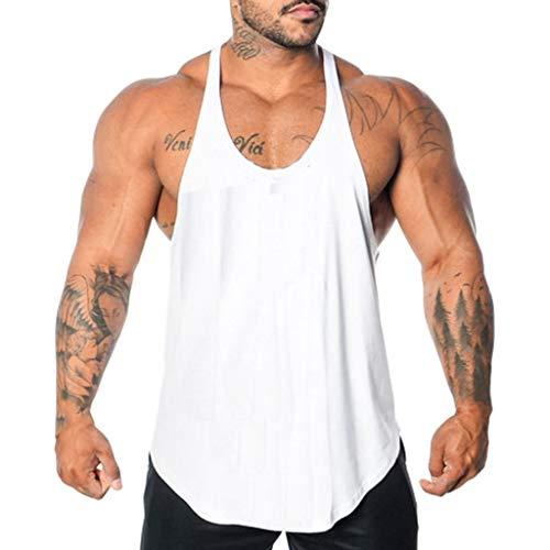 Camiseta de Tirantes Deporte Hombre, Camisetas Tops sin Mangas Basica Fitness Gym Camiseta Deportiva t-Shirt (Blanco3, M)