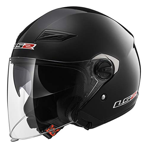 LS2 569-3006 Open Face Motorcycle Helmet (Black, XXL)