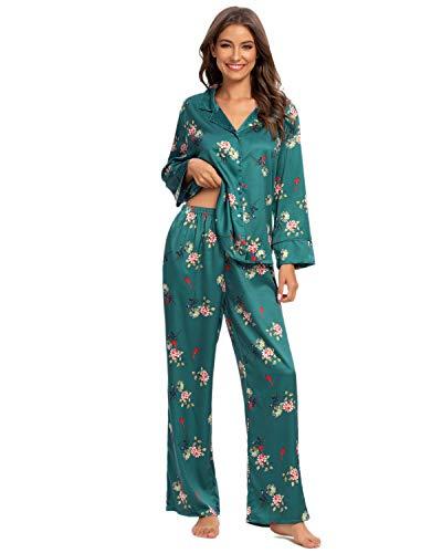 GOSO Pijama de Mujer con Botones y Mangas Cortas/Larga, Pijama Floral y Pantalones Cortos, Ropa de Dormir para Dama 2 Piezas
