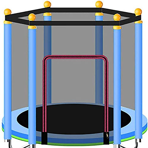 YIHGJJYP Mini Trampoline Set with Padding Garden Children's indoor protective net thick oxford fabric pe food-grade foam tube color Blue