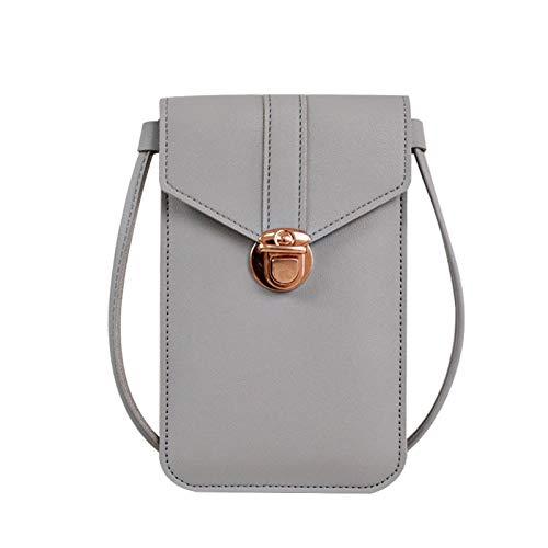 Bolsa para teléfono móvil, bolsa de cuero para mujer, bolsa para teléfono táctil, ventana transparente con pantalla táctil, bolsa de cuero con ranura para tarjetas, bolsa multifuncional para teléfono