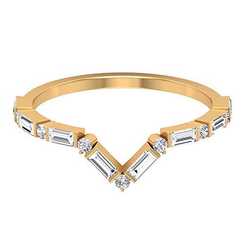 Anillo apilable único de 1/2 ct HI-SI de diamante para mujer, clásico certificado redondo y forma de baguette para ella, mínimo anillo de boda, 18K Oro blanco, Size:EU 51