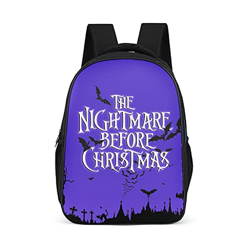 Backpack Sally and Jack Halloween Nightmare Before Christmas Design Bookbag Water-Resistant Daypack Outdoor Bag for Teenagers Toddler bright gray onesize