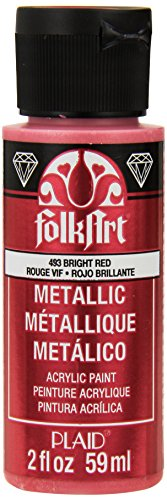 FolkArt Metallic Acrylic Paint in Assorted Colors (2 oz), 493, Bright Red