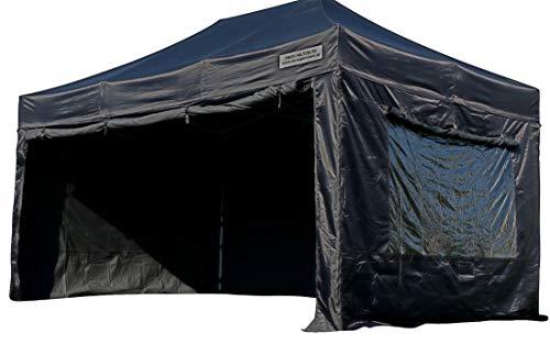 ASS 3x4,5m ALU Profi Faltzelt Marktzelt Marktstand Tent schwarz 50mm HEX mit Metallgelenken und FEUERHEMMENDEN PLANEN
