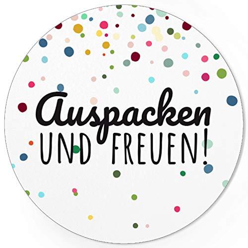 48 runde Aufkleber/Auspacken und freuen Bunte Punkte/Moderne Sticker/Etiketten/Geschenk/Hochzeit/Überraschung/Individuelles Design