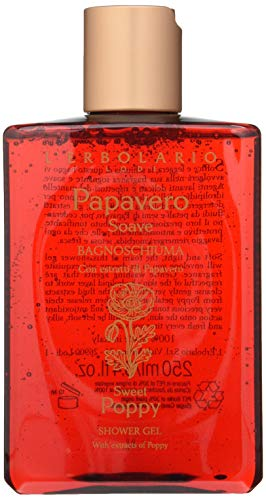 L'Erbolario Sweet Poppy Shower Gel with Floral/Amber Scent (Gently Cleanses, Softens & Tones Skin, Cruelty Free, Dermatologically Tested), Almond, 8.4 Oz