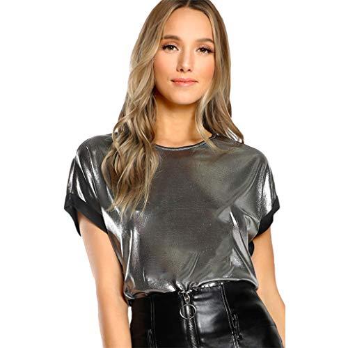 Moda, Mujer, Camiseta Plateada de Manga Corta con Cuello en O