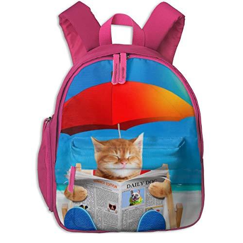 ADGBag Kinderrucksack Schultasche Cat Read Newspaper In Beach Chair Children's/Kids School/Nursery/Picnic/Carry/Travelling Bag Backpack Daypack Bookbags Pink