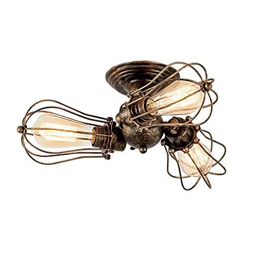 XSYL plafondlamp vintage verstelbaar stopcontact metalen draadkooi halve schaal montage rustieke plafondlamp lichtmetalen lampen (zonder gloeilamp)