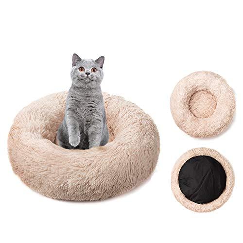RAINBEAN Haustierbett für Katzen und Hunde, Plüsch, rund, Kissen, Korb, Donut-Haustierbett, warm, beruhigend, kuschelig, weiches Schlafnest, für Welpen, Hellorange (40 cm)