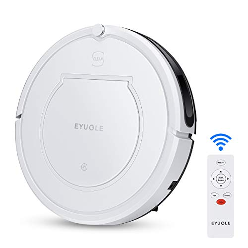 EYUGLE Robot Vacuum Cleaner, Self-Charging, Powerful Suction, Slim Design, Remote Control, Anti-Drop, Good for Pet Hair, Thin Carpets and Hard Floors (KK320A1N)