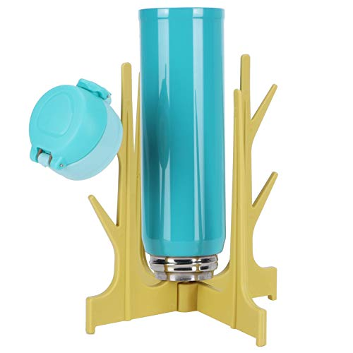 Estante para almacenamiento de alimentos, estante de drenaje para botellas de leche de plástico de grado alimenticio estable Estante de almacenamiento para estantes de pie mini Diseño de(yellow)