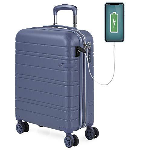 JASLEN - Maleta Cabina Avion Pequeña con 4 Ruedas 55x40x20 Extensible Hombre Mujer Rígida [Conector para Carga USB] Trolley Equipaje de Mano Candado con Seguridad TSA 171250, Color Azul