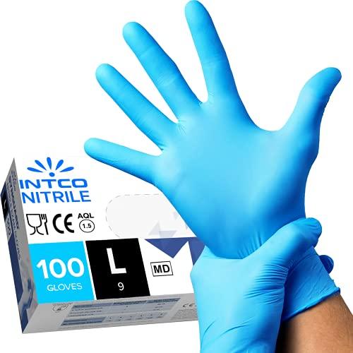 100 guanti in Nitrile L senza polvere, senza lattice, ipoallergenici, certificati CE conforme alla norma EN455 guanti per alimenti guanti medici monouso (L)