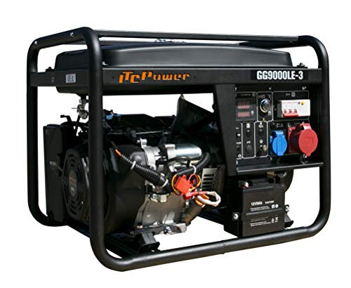 ITCPOWER IT-GG9000LE-3 Generador Gasolina Trifásico, 6600 W, 400 V, Negro, Grande