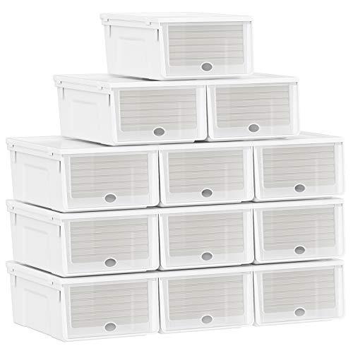 SONGMICS Cajas de Plástico para Zapatos, Juego de 12, Almacenamiento de Zapatos, Puerta Delantera Abatible y de Empuje, Apilable, Blanco LSP112W01