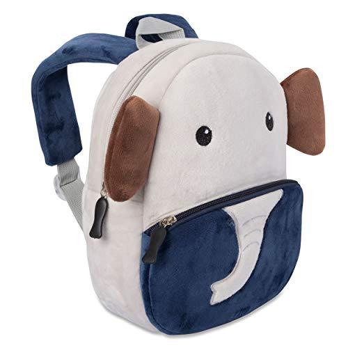 Kinderrucksack für Kleinkinder Kindergarten Rucksack für Kinder Backpack Schultasche Tier-Rucksäcke 1-4 Jahre, Robust, Leichtgewichtig, Flauschig & ergonomische Träger (Elefant)