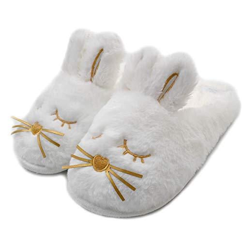 Earthily 111 Nette Bunny Fuzzy Hausschuhe | Warme Tier Memory Foam Kaninchen Plüsch | Frauen Indoor Outdoor-Schlafzimmer Hausschuhe (Color : White, Size : US 7-8\UK 5-6\EU 38-39)