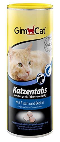 GimCat Katzentabs Fisch und Biotin - Köstlicher Katzensnack für glänzendes Fell und geschmeidige Haut - 1 Dose (1 x 210 g)