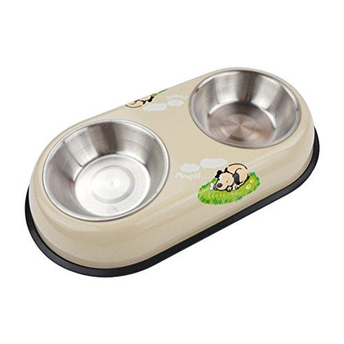 UEETEK Dual Edelstahl Hundenapf Pet Wassernapf Feeder Schüssel Hundefutter Schüssel Pet Schüssel Größe Kleine (Beige)