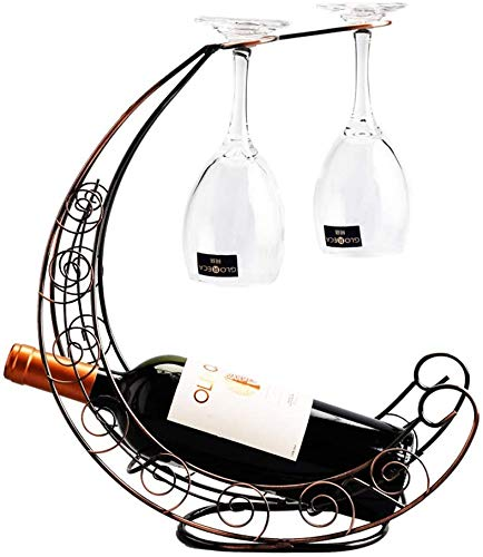 Iron and Wine Bottle Rack Creative Wijnrek meubilair winkels Europese Goblet glasrek Bronze 33x10x36 rek van de wijn (颜色 Kleur: Goud) WKY (Size : Bronze)