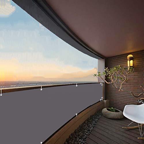 Balkonumrandung 70x600cm Wind- und UV-Schutz Wetterfest Sichtschutzplane Balkon mit Ösen Nylon Kabelbinder Kordel Deko für Balkongeländer Garten Anthrazit
