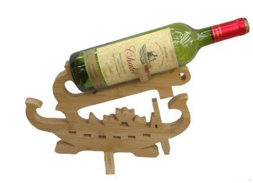 GMMH Diseño de Barco Vino botellero de pie Soporte para Botella de Vino de Madera de bambú