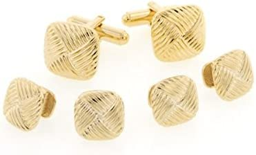 JJ Weston Diagonal Patterned Tuxedo Cufflinks and Shirt Studs. Made in the USA
