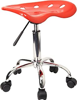 Flash Furniture Vibrant Red Tractor Seat and Chrome Stool...