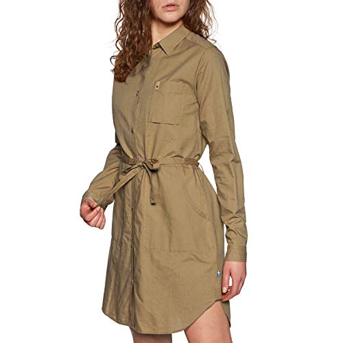 FJÄLLRÄVEN Damen Övik Shirt Dress W, Dark Sand, S