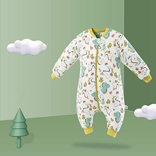 Dtcat Schlafsack mit Füßen,einteiliger Baby-Schlafanzug,Baby-Beinschlafsack,im Herbst und Winter kombinierter Dicker Babyschlafsack @ D_M,Unisex,Babyschlafsack-Sicherheitsverschluss