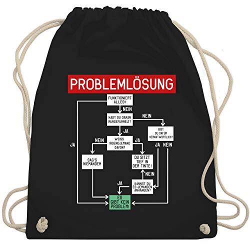 Shirtracer Sprüche - Problemlösung - weiß - Unisize - Schwarz - turnbeutel sprüche - WM110 - Turnbeutel und Stoffbeutel aus Baumwolle