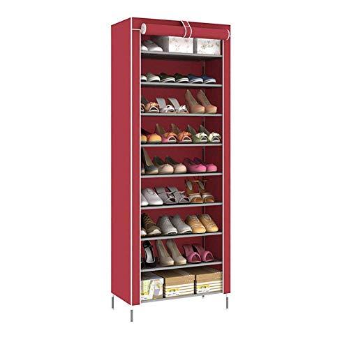 DXMRWJ Armario de Zapatos de Nivel 9, Organizador de Almacenamiento en Torre, Soporte para Zapatero, Capacidad para 27 Pares, 60x30x160cm, Rojo
