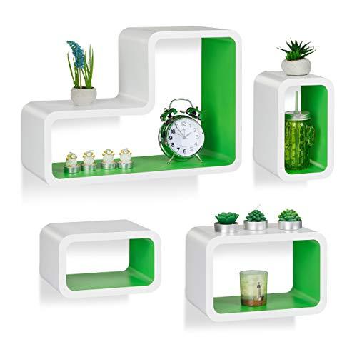 Relaxdays wandrek, set van 4, modern, hangrek, cube, voor boeken, dvd's, decoratie, L-vorm, wit-groen