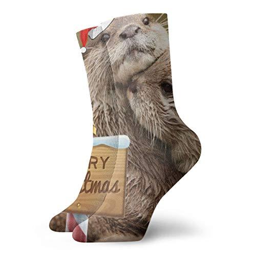 OUYouDeFangA Kiss The Otter Socken für Erwachsene, Baumwolle, gemütlich, kurze Socken für Yoga, Wandern, Radfahren, Laufen, Fußball, Sport