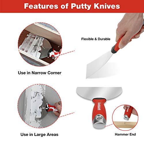 Goldblatt Drywall Hand Tool Kit - Joint Knives, Taping Knives, Paniter Scraper, Mud Pan