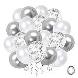 Globos Confeti de Plata Blanca, Paquete de 50 Globos de Fiesta de Cromo Metálico Plateado de 12 pulgadas con Cinta de...
