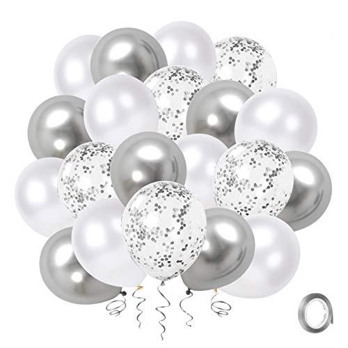 Globos Confeti de Plata Blanca, Paquete de 50 Globos de Fiesta de Cromo Metálico Plateado de 12 pulgadas con Cinta de Plata para Decoraciones de Baby Shower de Cumpleaños de Boda
