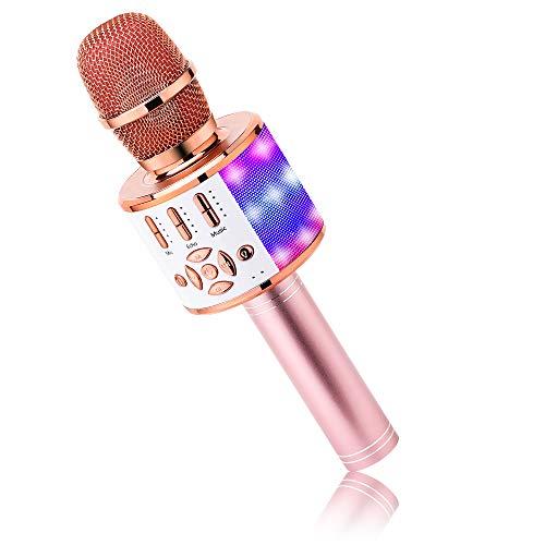BONAOK Karaoke Mikrofon Bluetooth, 4 in 1 Drahtlos Karaoke Mikrofone,Tragbare LED Kinder Karaoke Mikrofon Lautsprecher, Heim KTV Karaoke Gerät, kompatibel mit iOS Android Bluetooth Geräten (Roségold)