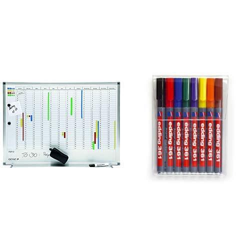 Genie AP2000 Jahresplaner-Beschreibbare Magnettafel (Monats-, Jahreseinteilung, Aluminium Rahmen, 77 x 56 cm) & edding 361 Boardmarker (feine konische Spitze), 8-stück, farblich sortiert