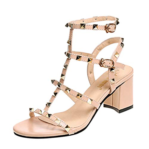 Sunfei Women Rivets Studded Strappy Block Heels Leather Sandals