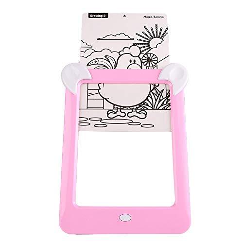 Hoseten 3D-Zeichenbrett, Zeichenbrett, LED-beleuchtetes Sketchpad Wiederholte Langzeitanwendung für Babys(Pink)