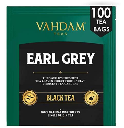 VAHDAM, Tè Nero Agli Agrumi Di Earl Grey, 100 conteggi - CITRUSY & DELICIOUS | Bustine di tè Earl Grey | Bustine di tè nero 100 conte | Tè nero miscelato con olio naturale di bergamotto,