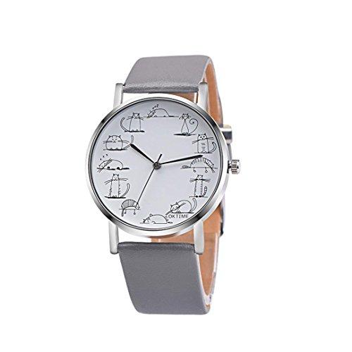 Coolster Damen & Unisex Stick Figur Cartoon Katze Lederband Armbanduhr Armband (Grau)